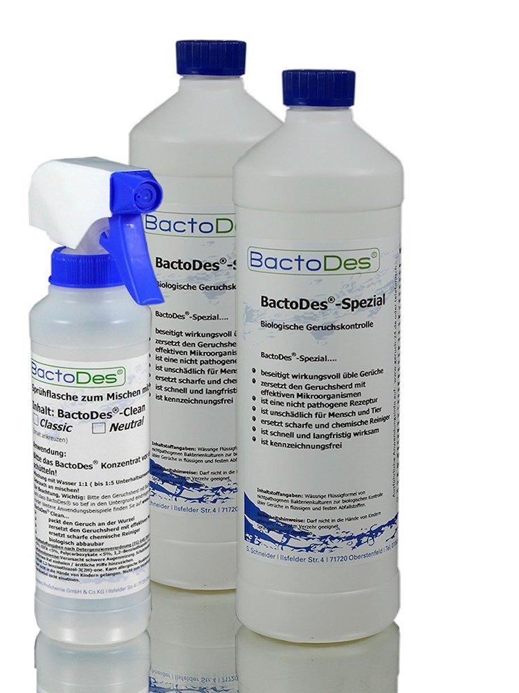 Das BactoDes Spezial Wird Je Nach Anwendungsgebiet Mit Wasser Entweder 1:1  (Akutbehandlung) Oder, Je Nach Geruchsintensität, Bis Zu 1:10 (ein Schuss  Ins ...